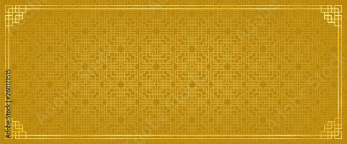 Fototapeta chinese new year banner, abstract oriental background, golden window inspiration, vector illustration  obraz
