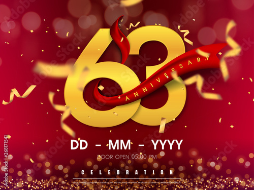 Fotografia  63 years anniversary logo template on gold background