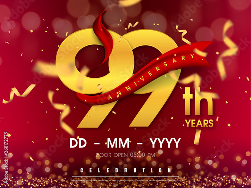 Photographie 99 years anniversary logo template on gold background
