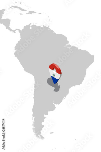 Map Of America 3d Vector.Paraguay Location Map On Map South America 3d Paraguay Flag Map