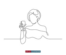 Continuous Line Drawing Of Pretty Girl With Wine Glass. Template For Your Design Works. Vector Illustration.