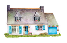 House, Cottage With Lawn Isola...