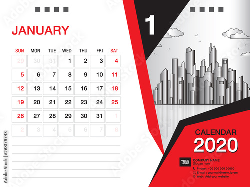 Desk Calendar 2020.Desk Calendar 2020 Template Vector January 2020 Month Business