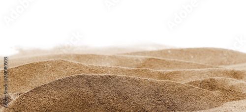 Foto  Pile desert sand dune isolated on white background, clipping path