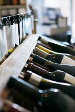 Wine: Variety Of Wine Bottles On The Rack