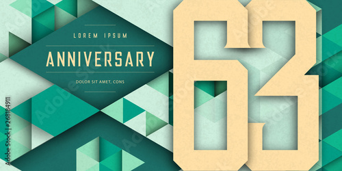 Εκτύπωση καμβά  Anniversary emblems celebration logo, 63rd birthday vector illustration, with texture background, modern geometric style and colorful polygonal design