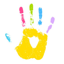 Colorful Kid Hand Print Vector...