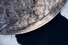 Aerial Top View Dike In Winter