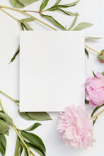 Blank Card With Pink Flowers
