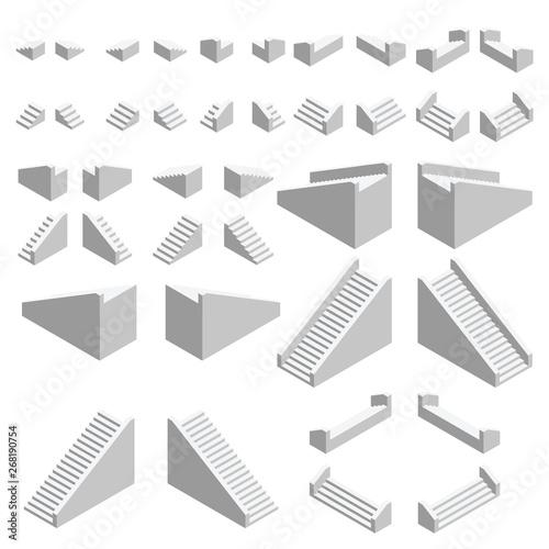 Obraz na płótnie Isometric stairs set