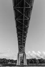 Traveling Under The Bourne Bridge On Cape Cod Canal