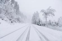 Snowy Winter Road In Austria