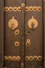 Wooden Door With Vintage Handles