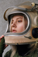 Sensual Model Wearing Space Suit