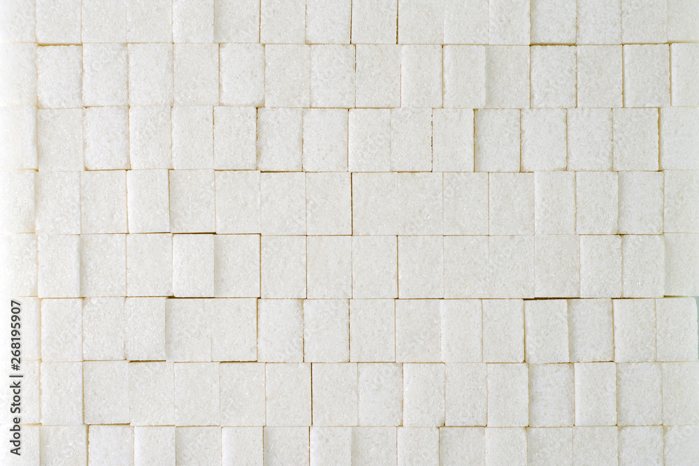 Fototapety, obrazy: light sweet background: wall of refined sugar cubes