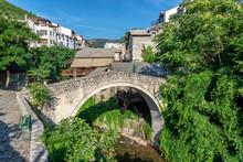 Crooked Bridge In Mostar, Bosnia