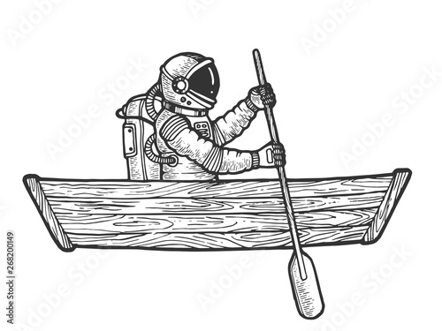 Astronaut spaceman rowing in wooden boat sketch engraving vector illustration. Scratch board style imitation. Black and white hand drawn image.