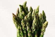 Asparagus Bunch Closeup On White