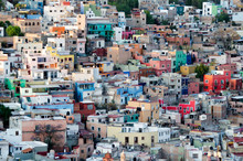 Aerial View To Colorful Houses In Colonial Style