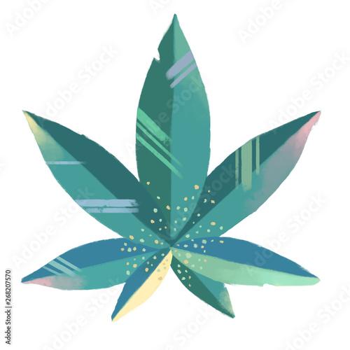Fotografía Cute colourful marijuana leaf in a primitivism style or a style of children's bo