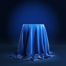 Round Podium Covered With Blue...