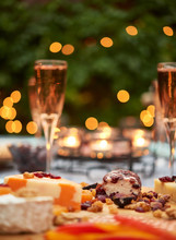 Patio Evening Dinner Party With Champagne