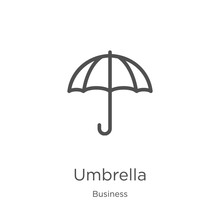 Umbrella Icon Vector From Business Collection. Thin Line Umbrella Outline Icon Vector Illustration. Outline, Thin Line Umbrella Icon For Website Design And Mobile, App Development.