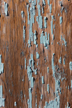Close Up Peeling Paint On Wooden Wall