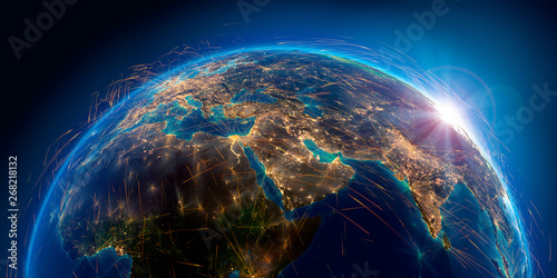 Canvas Print Detailed air routes on Earth. 3D rendering