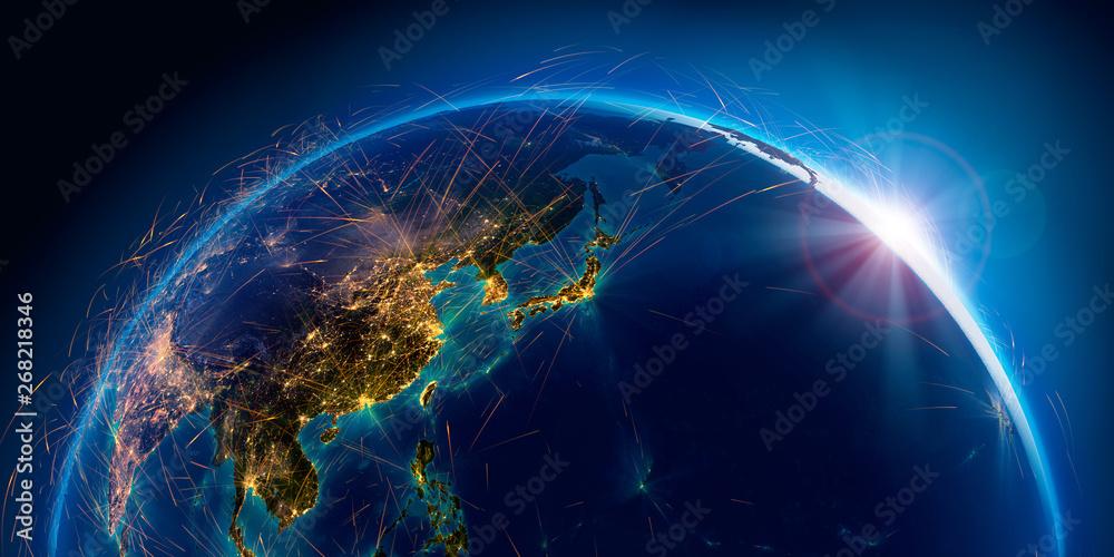 Fototapeta Detailed air routes on Earth. 3D rendering