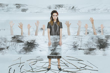 Surreal Portrait Of A Girl With A Fence Of Hands.