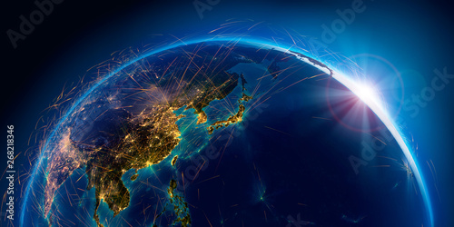 Photo Detailed air routes on Earth. 3D rendering