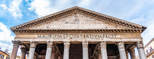 Roman Pantheon - Detailed Front Bottom View Of Entrance With Columns And Tympanum. Rome, Italy