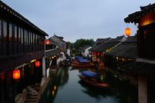 Chinese Water Town Night Scene