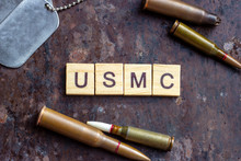 USMC Sign With Weapon Bullets ...