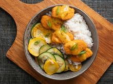 Orange Vegan ChickUn Bowl With Rice