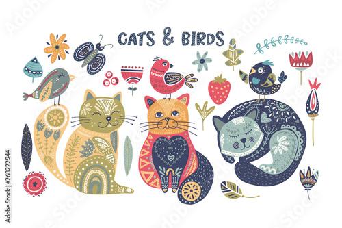 Fényképezés  Folk art vector cat and bird set.