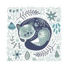 Folk Art Vector Cat Illustration.