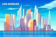 Los Angeles City Skyline With ...