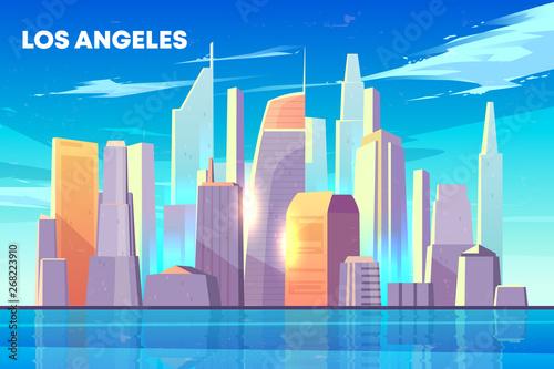 Obrazy Los Angeles  panorame-miasta-los-angeles-z-oswietlonymi-sloncem-wiezowcami-budynkami-nad-brzegiem-morza-domy