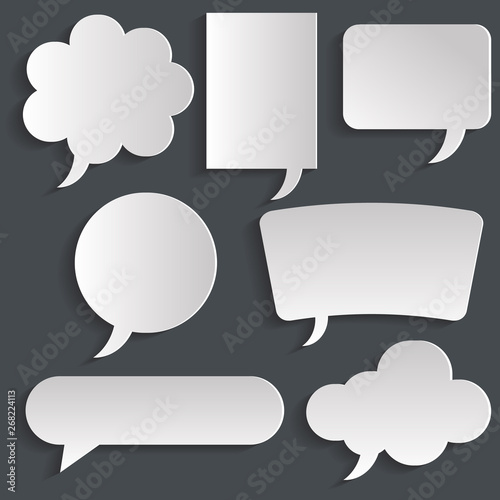 Fototapety, obrazy: Speech bubbles set with shadows. Set of white paper stickers of different shapes on white background. Round, square, rectangular, triangular. Label sign vector illustration. Speech design element.