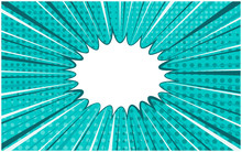 Bright Turquoise Exploding Retro Comic Background With Halftone Shadow And Circle Of Dark And Light Stripes. Blue Horizontal Backdrop With Bubble For Comics Book, Advertising Design, Poster, Print