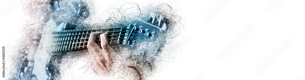 Fototapeta Man holding playing a guitar, blue brown color image with digital effects sketch silhouette on white panoramic background copy free space for your conceptual advertisement text