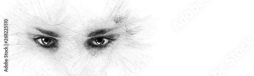 Pencil sketch face silhouette woman eyes looking at camera aside on white background copy space for your conceptual text advertisement Canvas Print