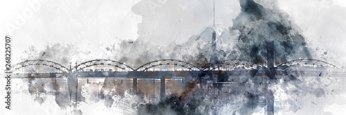 Photo Panoramic image digital watercolor painting of a Railway bridge over the Daugava river