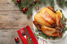Cooked Turkey With Garnish Served For Christmas Dinner On Table, Flat Lay. Space For Text