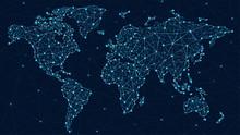 World Map Plexus - Global Tech...