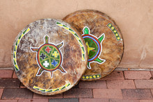 Native American Drums With Turtle Design