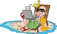 Cartoon Man On Vacation, Lying...