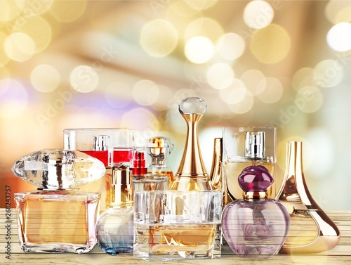 Obraz Aromatic Perfume bottles on background - fototapety do salonu